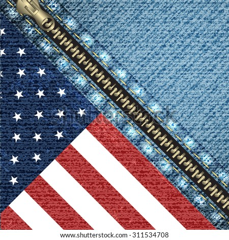 Realistic denim background with USA flag and stitch effect/vector illustration - stock vector