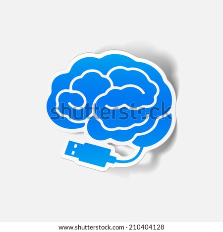 realistic design element: brain-usb, plug. Vector Illustration - stock vector