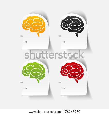 realistic design element: head face brain. Vector Illustration - stock vector