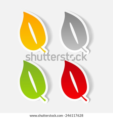 realistic design element: leaf - stock vector