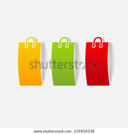realistic design element: shopping, bag, package - stock vector