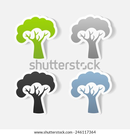 realistic design element: tree - stock vector