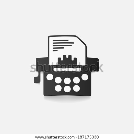 realistic design element: typewriter - stock vector