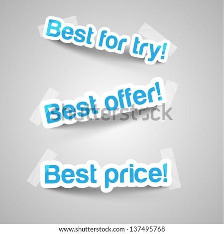 Realistic design elements stickers - stock vector