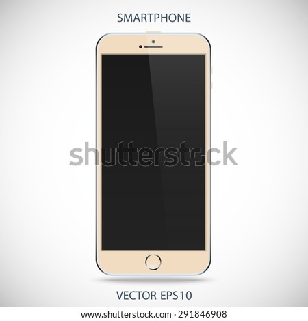 realistic detailed beige smartphone in iphone style with black touch screen isolated on a gray background. vector illustration eps10 - stock vector
