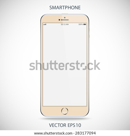 realistic detailed beige smartphone in iphone style with gray touch screen isolated on a gray background. vector illustration eps10 - stock vector