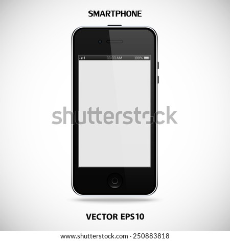 realistic detailed black smartphone in iphone style with touch screen isolated on grey background. vector illustration eps10