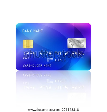 Realistic detailed credit card with abstract geometric blue design isolated on white background. Vector illustration EPS10 - stock vector