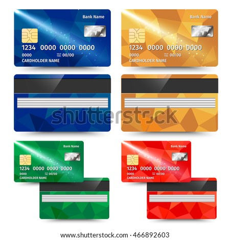 Realistic detailed credit card with abstract geometric design isolated on white background. Vector illustration EPS10