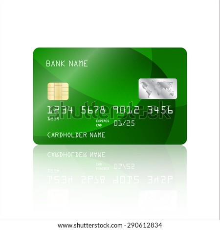 Realistic detailed credit card with abstract geometric green design isolated on white background. Vector illustration EPS10 - stock vector