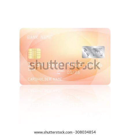 Realistic detailed credit card with abstract geometric pink design isolated on white background. Vector illustration EPS10 - stock vector