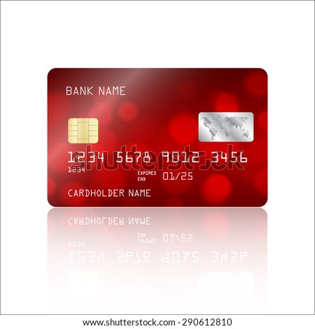 Realistic detailed credit card with abstract geometric red bokeh lights design isolated on white background. Vector illustration EPS10 - stock vector