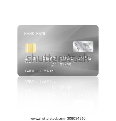 Realistic detailed credit card with abstract geometric silver design isolated on white background. Vector illustration EPS10
