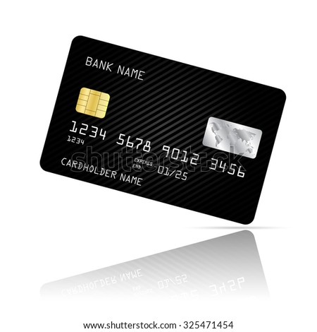 Realistic detailed credit card with black abstract design isolated on white background. Vector illustration EPS10 - stock vector