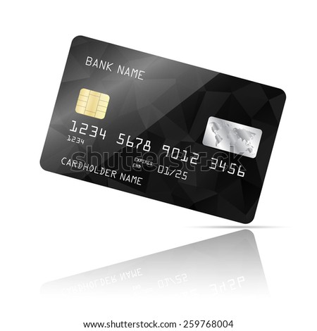 Realistic detailed credit card with black geometric triangular design isolated on white background. Vector illustration EPS10 - stock vector