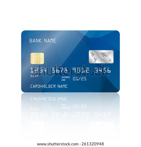 Realistic detailed credit card with blue geometric triangular design isolated on white background. Vector illustration EPS10 - stock vector
