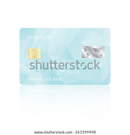Realistic detailed credit card with light blue geometric triangular design isolated on white background. Vector illustration EPS10 - stock vector