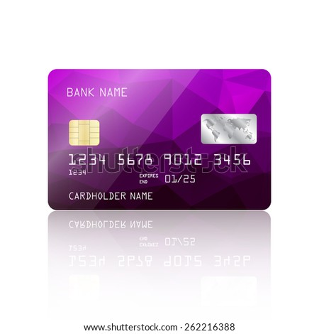 Realistic detailed credit card with purple geometric triangular design isolated on white background. Vector illustration EPS10 - stock vector