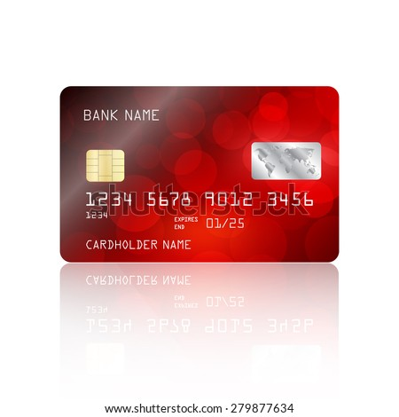 Realistic detailed credit card with red bokeh lights design isolated on white background. Vector illustration EPS10 - stock vector
