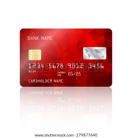 Realistic detailed credit card with red geometric triangular design isolated on white background. Vector illustration EPS10 - stock vector