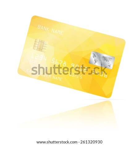Realistic detailed credit card with yellow geometric triangular design isolated on white background. Vector illustration EPS10 - stock vector