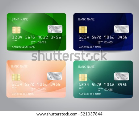 Realistic detailed credit cards set with abstract colorful design background. Vector illustration EPS10