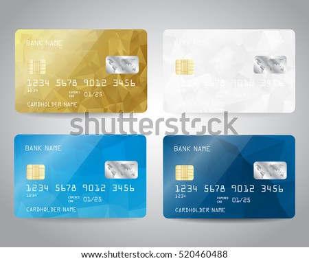 Realistic detailed credit cards set with colorful blue, gold, white triangular design background. Vector illustration EPS10