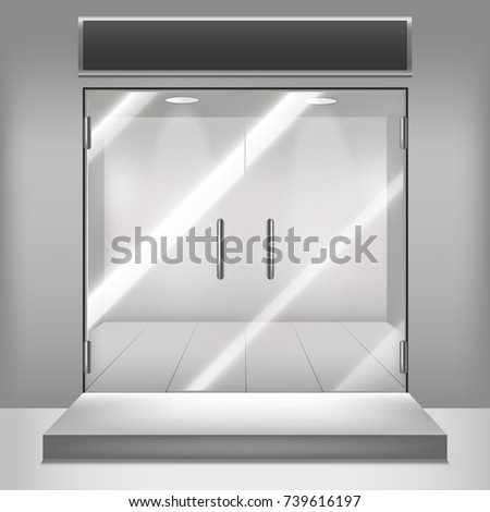 Realistic Detailed 3d Glass Transparent Doors Front Entrance for Boutique, Office, Shop, Store or Home. Vector illustration of Transparency Door