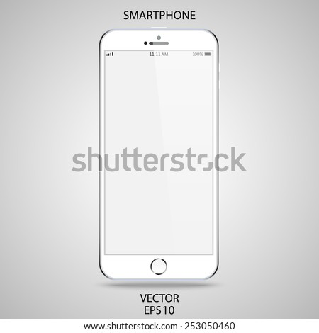 realistic detailed white smartphone in iphone style with gray touch screen isolated on a gray background. vector illustration eps10 - stock vector