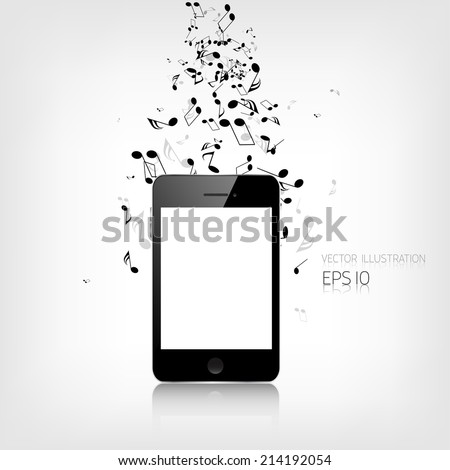 Realistic detalized smartphone with music notes - stock vector
