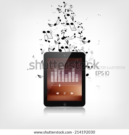 Realistic detalized tablet with music notes - stock vector