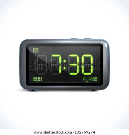 Realistic digital alarm clock with lcd display isolated vector illustration - stock vector