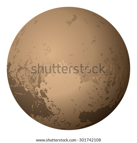 Realistic Dwarf Planet Pluto Isolated on White Background. Elements of this Image furnished by NASA. EPS 10. Contains Transparencies. Vector - stock vector