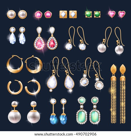Realistic Earrings Jewelry Accessories Icons Set Stock