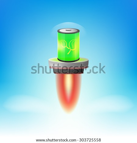 realistic eco battery with flame platform. eco rocket battery. - stock vector