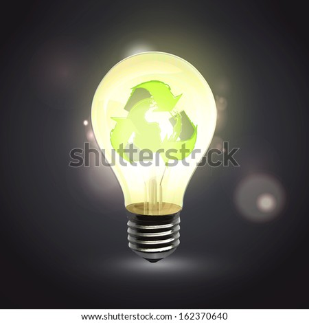 Realistic eco lightbulb isolated over black. Vector design.
