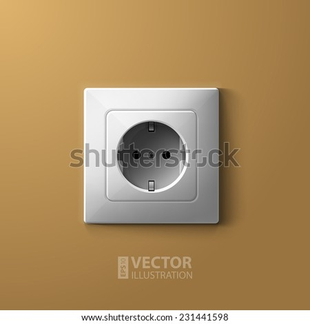 Realistic electric white socket on biege wall background. RGB EPS 10 vector illustration - stock vector