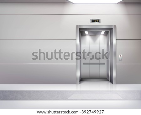 Realistic empty elevator hall interior with waiting lift marble floor ceiling window and grey walls vector illustration - stock vector