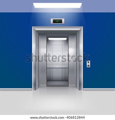 Realistic Empty Elevator with Half Open Door in Blue Lobby - stock vector