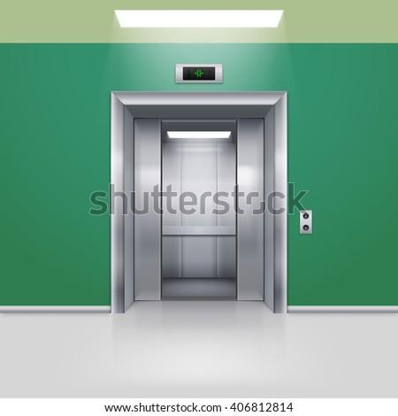 Realistic Empty Elevator with Half Open Door in Green Lobby - stock vector