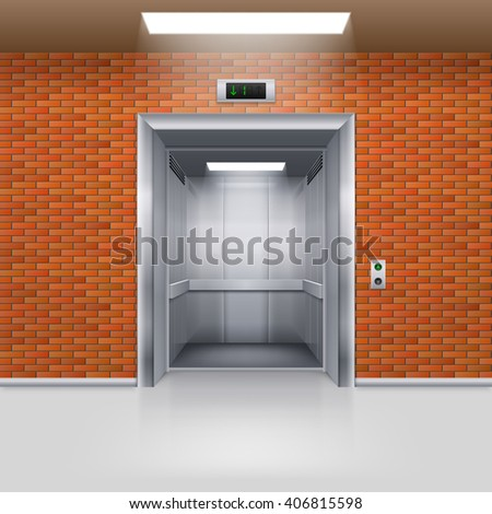 Realistic Empty Elevator with Open Door in a Brick Wall - stock vector