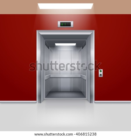 Realistic Empty Modern Elevator with Open Door in Red Hall - stock vector