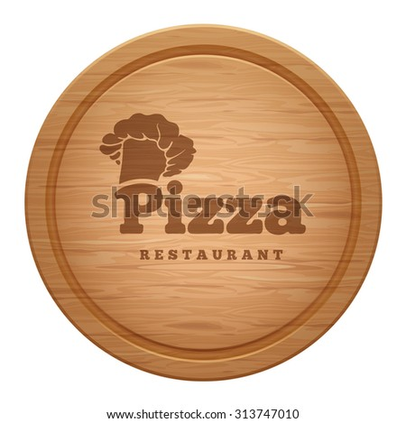Realistic empty round wooden cutting board with restaurant emblem. Also used for pizza. Vector illustration. Isolated on white background. - stock vector