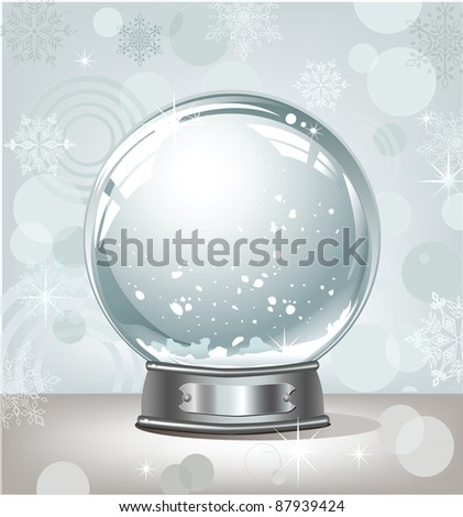 realistic empty snow-globe on a light abstract background