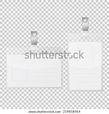 Realistic empty tag badge holder isolated on transparent background. Vector EPS10 illustration.  - stock vector