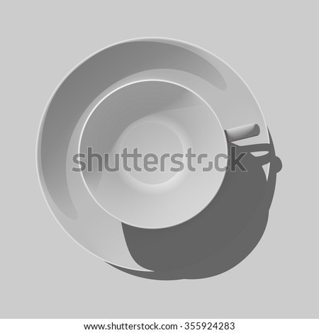 Realistic empty white cup with saucer isolated vector illustration. View from above.