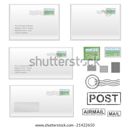 realistic envelopes with stamps and seals - stock vector