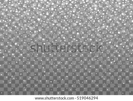 Realistic falling snowflakes. Isolated on transparent background. Vector illustration, eps 10.