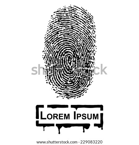 Realistic Fingerprint and frame for fill text - stock vector