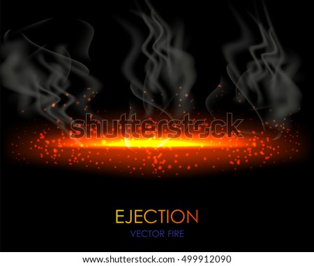 Realistic fire flame on dark transparent background with grey smoke.